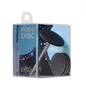 Диск педикюрный  PODODISC EXCLUSIVE M пластиковый удлиненный в комп со сменным файлом 180 грит 5 шт (20мм)  STALEKS PRO