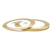 Лента (скотч) для дизайна ногтей №161 с блестками золотая, 1 мм EL Corazon