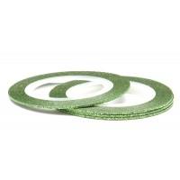 Лента (скотч) для дизайна ногтей №168 с блестками зеленая, 1 мм EL Corazon