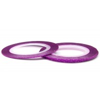 Лента (скотч) для дизайна ногтей №169 с блестками фиолетовая, 1 мм EL Corazon