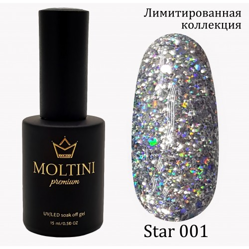 Гель-лак Moltini Premium STAR 001, 15 ml